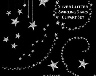 Sparkling Silver Star Clipart, Glitter Clip Art, Silver Star Clipart, Silver Clip Art, Digital Download, Commercial Use