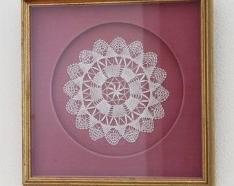 Doily Art Framed Wall Hanging - Textile Wall Art