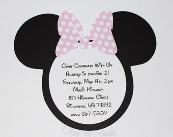 Minnie Mouse Birthday Party Invitations with Light PINK POLKA DOT bow perfect for your Party Baby Shower 30 Invites