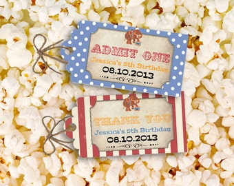 Vintage Circus Party Tags - INSTANT DOWNLOAD - Editable & Printable Birthday Decorations by Sassaby Parties
