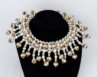 SALE - Rare COPPOLA e TOPPO Extravagant Glass Pearl & Crystal Rhinestone Collar Bib Necklace - Statement Piece!