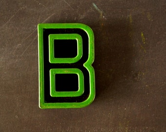 "Vintage Industrial Letter ""B"" Black with Green and Red Paint, 2"" tall (c.1940s) - Monogram Display, Shadow Box Letter, Art Supply"