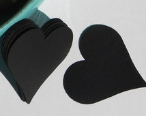 25 paper hearts - heart die cuts - use for gift tags - cupcake toppers - paper garland - scrap book embellishments -black paper hearts