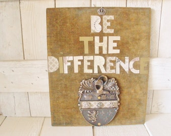 Vintage velvet sign family crest assemblage message- free shipping US