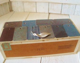 Vintage cigar box embellished upcycled tile samples jewelry finding