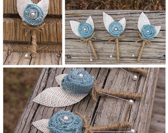 3 Rustic Boutonnieres, Burlap Boutonnieres, Shabby Chic Boutonnieres, Rustic Wedding, Cornflower Blue