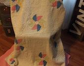 Vintage quilt wedding photo prop stacker antique bedding
