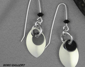 """Matte Silver Anodized Aluminum Dragon Scales, Black Anodized Aluminum Dissc, Handcrafted Earwires, 2"""" - Hand Crafted Artisan Jewelry"""