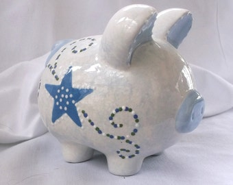 Hand painted Ceramic Piggy Bank~Boy  -Blue with stars and swirls