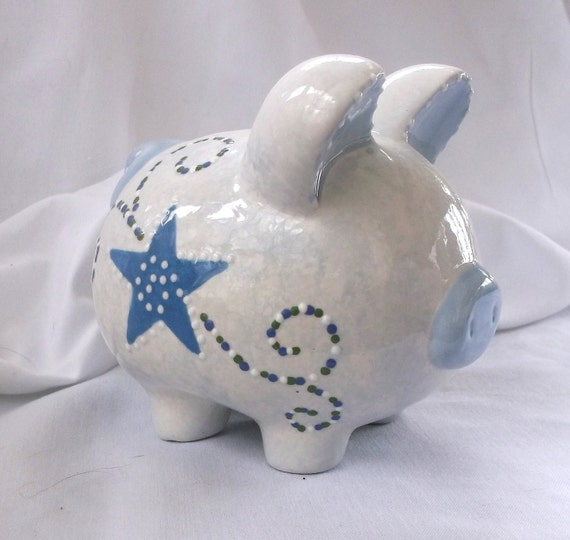 Items similar to hand painted ceramic piggy bank boy blue with stars and swirls on etsy - Ceramic piggy banks for boys ...