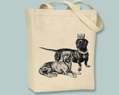 King and Queen Dachshunds on a Canvas Tote - Selection of  sizes, ANY IMAGE COLOR