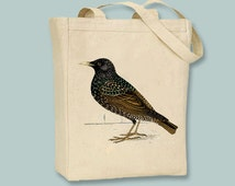 Gorgeous Vintage Starling Bird illustration on Canvas Tote -- Selection of sizes available