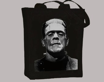 Frankenstein Movie Monster BLACK or NATURAL Canvas Tote - Selection of  sizes available