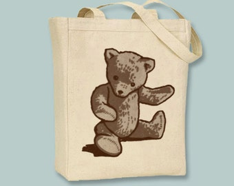 Vintage Teddy Bear Image Canvas Tote -- Selection of tote sizes, Image in ANY COLOR