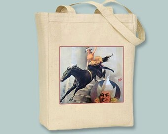 Circus Acrobat on Horse Vintage Poster on Natural or Black  Canvas Tote -- Selection of  sizes available