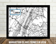 Unique New York City Map Related Items Etsy