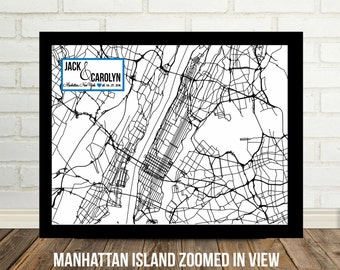 New York City Map Art NYC Map Manhattan Map Manhattan Wedding Couple Art Personalized NYC Street Map New York Street Map Manhattan Island