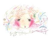 Whimsical giclee print girl illustration girls art bedroom decor pink