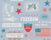 FABRIC LOT 6 YARDS Stars and Stripes My Mind's Eye for Riley Blake Words Blue C2791,4th of July Fabric,Independence Day Fabric,100% Cotton