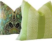 Greek Key Pillows - Green Greek Key Pillows - Decorative Pillows - Green Accent Pillows - Throw Pillows - Accent Pillows - Euro Shams