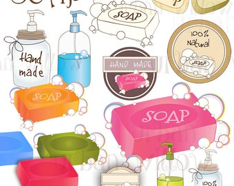 SOAP - 34 piece digital clip SET, in high resolution, Png, Jpeg & Vector digital art files.