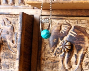 Aqua/ Turquoise Wooden Pendant Necklace w/ Silver Ball Chain