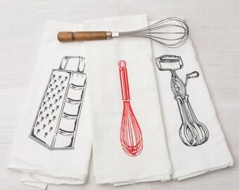 Kitchen Utensil Towel Set - Kitchen Towel Set -  Whisk - Grater - Eggbeater -  Flour Sack Towel - Tea Towel
