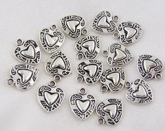 """10 Silver Heart Charms, 1/2""""  chs1741"""