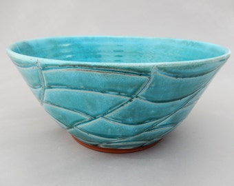 Ceramic Serving Bowl-  Turquoise - Terracotta Pottery