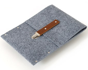 Grey Synthetic Felt Sleeve. MacBook 12 inch Cover. Handmade Quality Case
