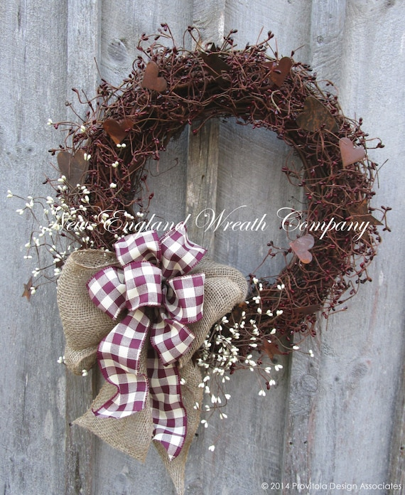 Valentine Wreath Primitive Wreath Pip Berry Wreath Rusty