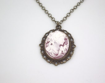 vintage antiqued brass cabochon setting Sweet Charlotte II  cameo pendant white on ruby frosted pendant on chain necklace