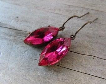 Fuschia Pink Antique Brass marquise drop dangle earrings