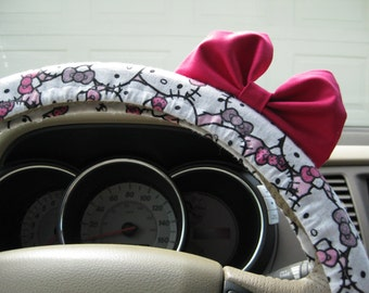 Steering Wheel Cover Bow - Limited Edition Hello Kitty Steering Wheel Cover with Hot Pink Bow BF11051