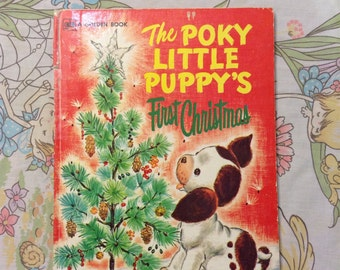1979 Poky Little Puppys First Christmas Large Golden Book