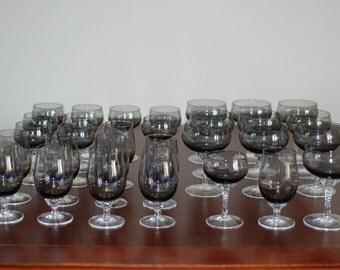 Set of 30 Sasaki crystal coronation smoke glass barware cocktail glasses JAPAN