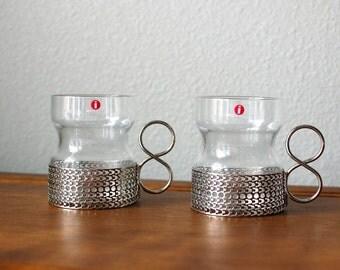 Iittala Tsaikka Timo Sarpaneva Tea Glasses PAIR With Clips FINLAND