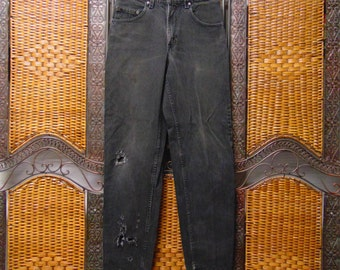 "560 Levis Vtg 80's High Waisted  tapered leg black Denim Jeans Waist 30"" x 33"" inseam"