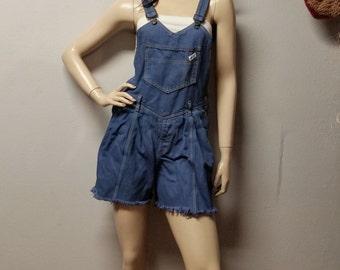 Vintage 80s GUESS Denim Shortalls/Overalls Shorts - Sz  XS--Small