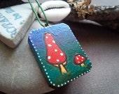 Amanita Muscaria A Darkling Fantasy Fly Agaric Pagan Fae Wooden Painted Pendant