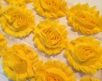"Bright Yellow Shabby Rose Trim 2.5"" Shabby Flowers Shabby Chiffon Flowers Solid Shabby Chic Trim Wholesale Rosette trim 6cm 1 yard #804"