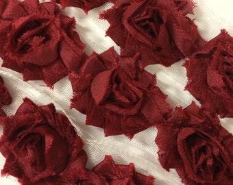 "Maroon Burgundy Petite Shabby Rose Trim 1.5"" small Shabby Flowers Mini Shabby Chiffon Flowers yard shabby Chic Trim Wholesale 3cm #305"