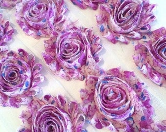 "Purple Flower Print Shabby Rose Trim 2.5"" Shabby Flowers Shabby Chiffon Flowers - Printed Shabby Chic Trim Wholesale Rosette trim 6cm 1 yard"