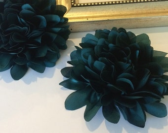 Teal Fabric flower  -  4''  large silk White  fabric flower - flat back  Dahlia Silk Flower