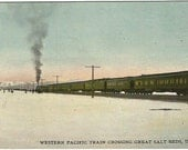 Western Pacific Train Crossing Great Salt Beds of Utah Americana in the West Railroad Memorabilia Vintage Postcard 1910s