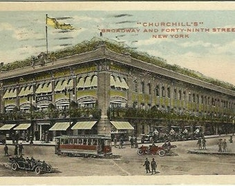 Churchill's Broadway and Forty-Ninth Street 49th Street New York Antique Postcard Street Scene Time Square Postal Station 1917 Trolley