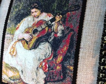 Fine Art - Thread Painted - Embroidered - Renoir - Lady playing guitar - Luxe - Beaded trim -  fringe - silk ruffle