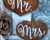 Rustic Mr. and Mrs. Chair Signs- (set of 2) For your Rustic, Country, Woodland, Outdoor,  Wedding, Reception, Rehearsal Dinner, Etc.