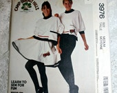 Camp Beverly Hills Top Skirt Pants and Iron on Transfer Vintage 1988 McCalls 3976 UNCUT Sewing Pattern Size Medium For Stretch Knits Only