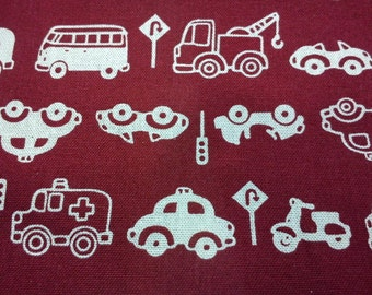 Vehicle in ivory, dark red, fat quarter, pure cotton fabric